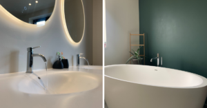 badkamer renovatie lavabo wastafel losstaand bad kraanwerk kranen